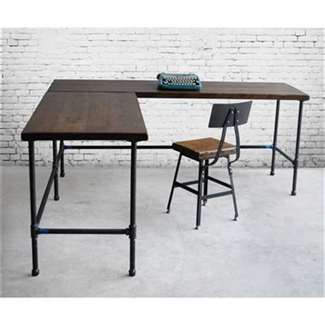 industrial desk l buy a handmade reclaimed wood industrial styled l shaped