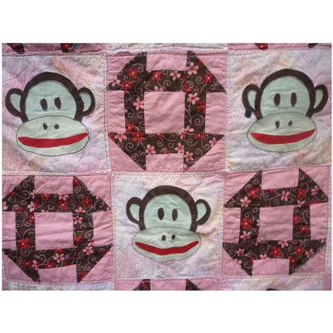 Applique Patchwork - sock monkey applique and patchwork quilt from chezmarianne
