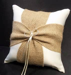 burlap accent ivory or white wedding ring bearer pillow