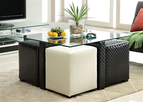 Ruti Black & White Padded Leather Glass Top Coffee Table   4 Ottomans