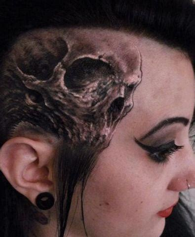 3d tattoo on head grey ink 3d skull head tattoo for girls