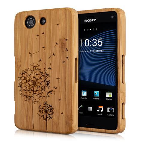 Design Cover Sony Xperia Z3 Compact | kwmobile wood cover for sony xperia z3 compact bamboo case