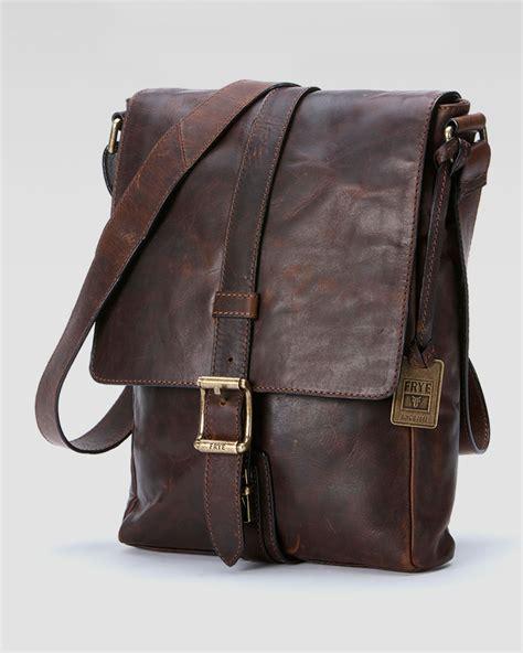 Rugged Leather Bag Lyst Frye Logan Mens Small Messenger Bag In Brown For Men
