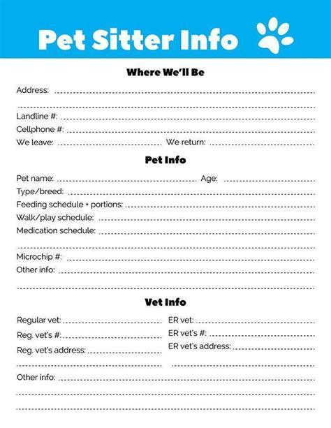 pet sitter info sheet printable the digital shop