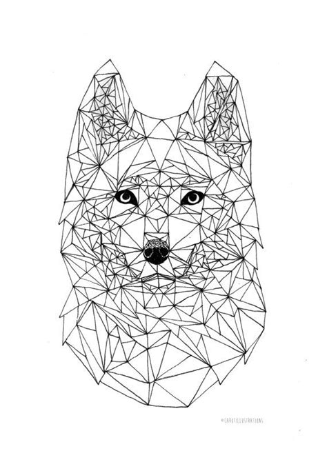 Wolf Geometric Pen Illustration Wall Art 14 8 X 21 0 Cm Geometric Drawings To Color