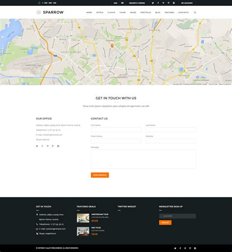 Sparrow Responsive Travel Online Booking Template By Weblionmedia Contact Us Page Template