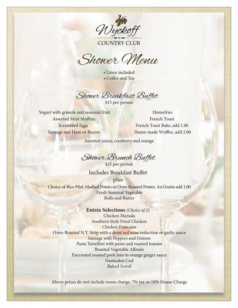 wedding shower menu shower menu wyckoff country club