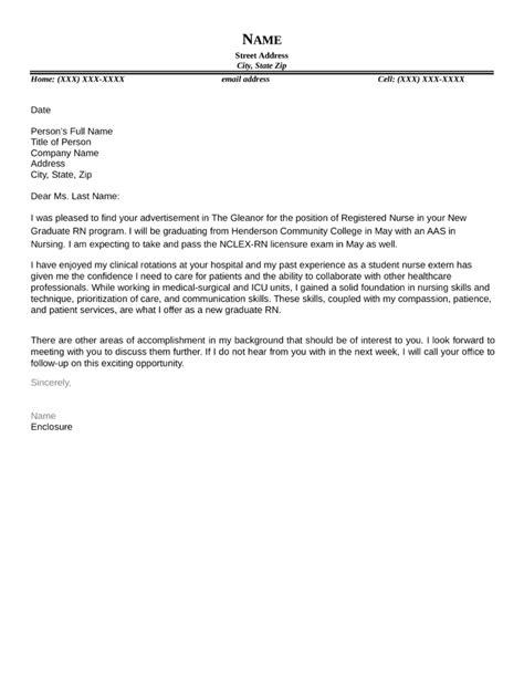 new grad nurse cover letter example nursing cover letters resume