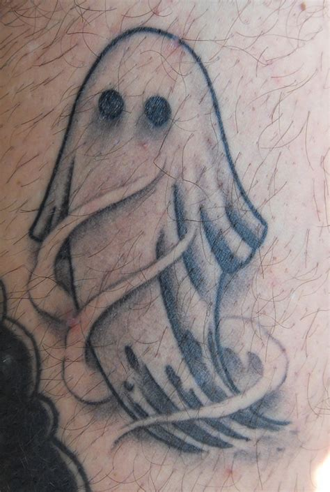 cute ghost tattoo scary ghost with shadows on mans leg tattooimages biz