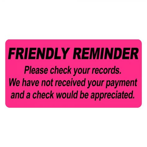 Pre Payment Reminder Letter Friendly Reminder Payment Due Labels Free Shipping