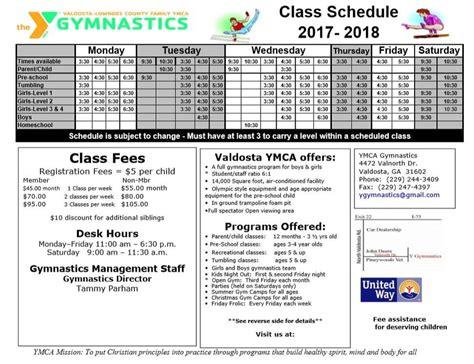 ymca printable schedule fees schedule