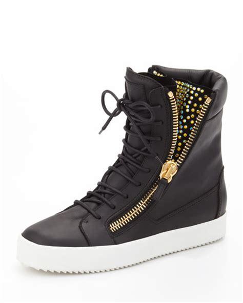 From Designer Shoes To Designer Zip Codes 2 by Giuseppe Zanotti Zip High Top Sneaker Black