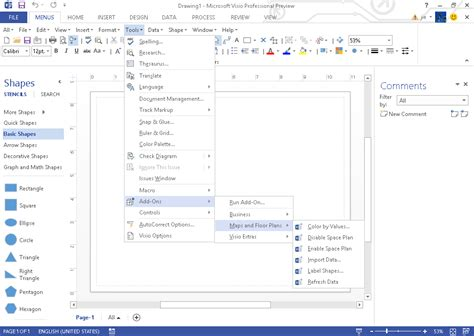 microsoft visio 2013 screen of classic menu for visio 2010 2013 and 2016