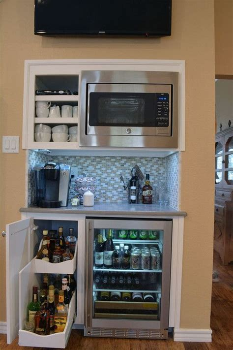 nice awesome cool Custom Beverage Bar with slide out wine