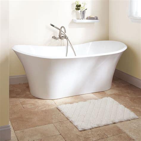 bathtub ceramic white acrylic freestanding bathtub under small chandelier