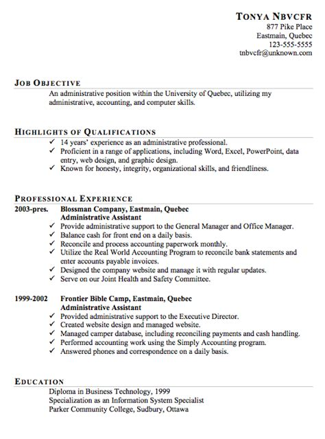 exles of resumes resume sle for an administrative assistant susan