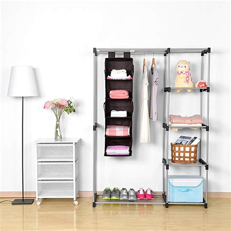 5 shelf hanging closet organizer maidmax brown hanging