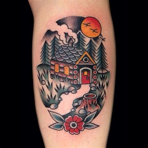 traditional style cabin tattoo pinterest
