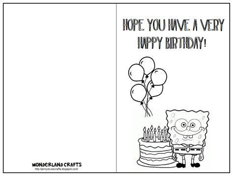 printable birthday cards for kids wonderland crafts birthday cards