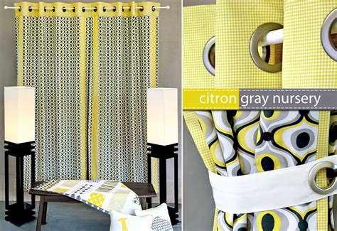 Yellow And Grey Nursery Curtains Michael Miller Fabrics Citron Gray Nursery Panel Curtains With Grommets Sew4home