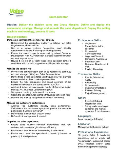 sales director valeo service sales director job description