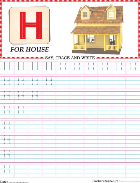 capital letter h practice worksheet download free