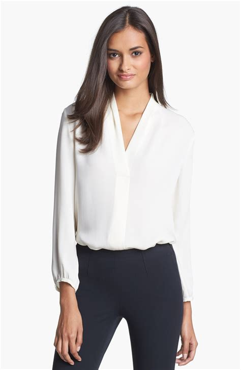 theory blouse theory tianmer pocket shirt in white ivory lyst