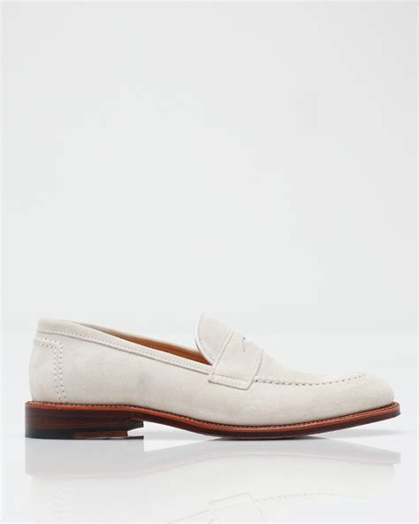 loafers for white alden white suede loafer in white for lyst