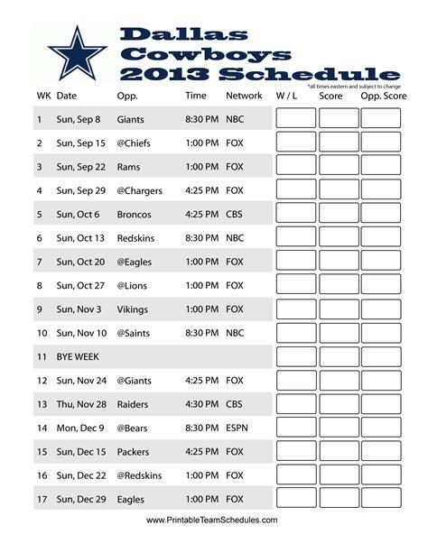 printable schedule d 2015 dallas cowboys 2015 printable schedule calendar template