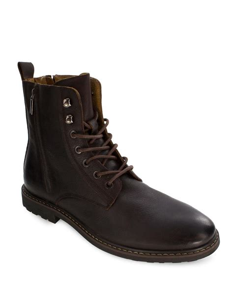 Plain Boots deer stags leather plain toe boots in brown for