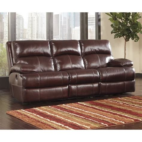 Burgundy Leather Reclining Sofa Lensar Leather Power Reclining Sofa In Burgundy U9900087