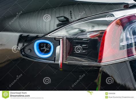 Port Car by Tesla Ev Charging Port Electric Car Stock Photo Image 53930298