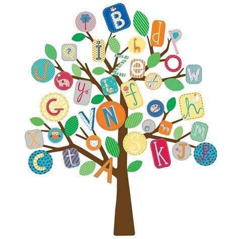 abc nursery decor new alphabet tree wall decals mural abc trees baby