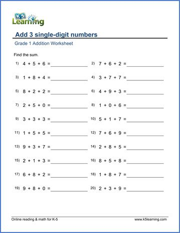 Adding Three Numbers Worksheet