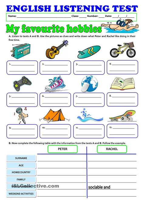 2 948 free listening worksheets 27 best sports and hobbies images on pinterest learning
