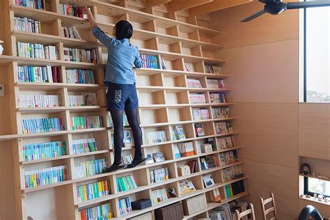 built in bookshelf doesn t need a library ladder curbed