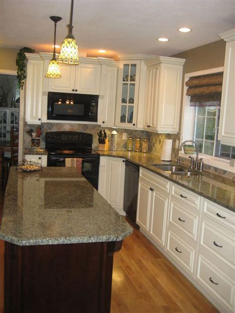 rustic hickory cabinets black laminate countertops ge white kitchen tour guest countertops slate backsplash