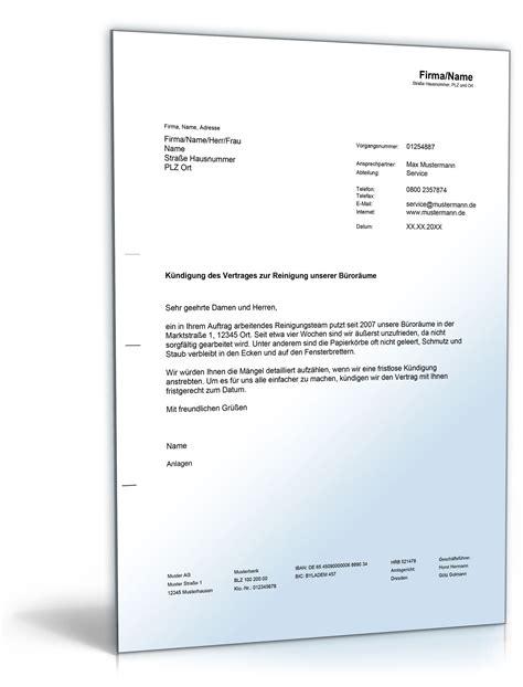 Angebot Reinigungsfirma Vorlage K 252 Ndigung Des Reinigungsdienstes De Musterbrief
