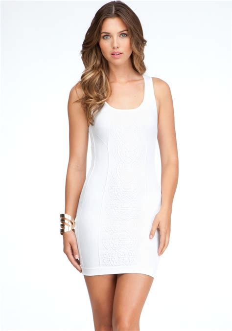 White Tank Dress by Bebe Textured Chain Tank Dress In White Lyst