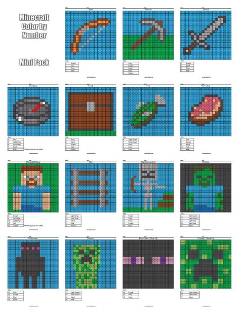Color By Numbers Minecraft Search Results Calendar 2015 Minecraft Colors