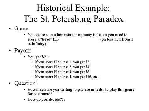 exle of paradox historical exle the st petersburg paradox