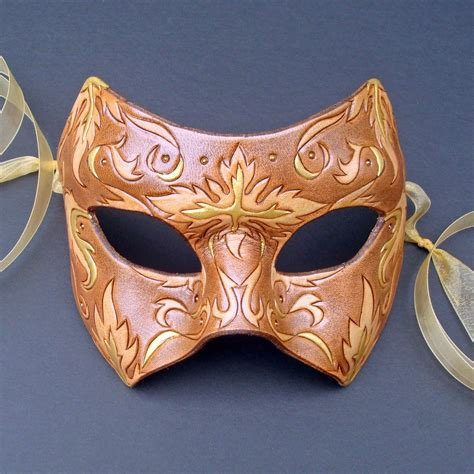 floral mask handmade leather mask
