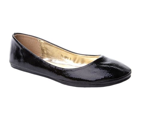 womens black patent flat dolly pumps shoes uk size 3 8 ebay