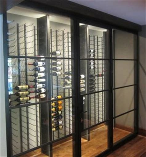 glass walls  metal custom wine racks create