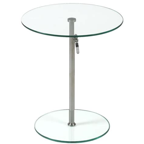 Floor Decorations Home by Rafaella Round Glass Side Table Clear Chrome Plant