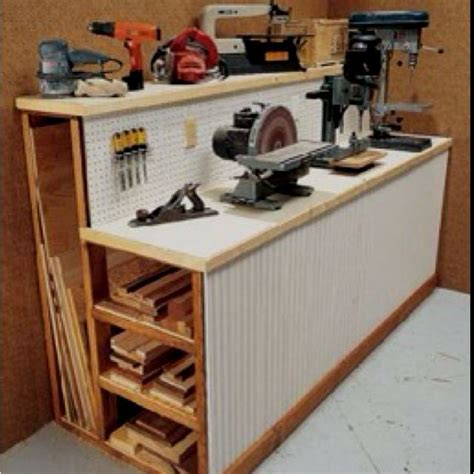 garage tool bench ideas tool shed work bench storage for scrap wood and tools