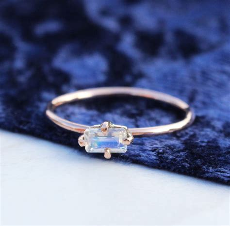9ct gold emerald cut moonstone boho ring by