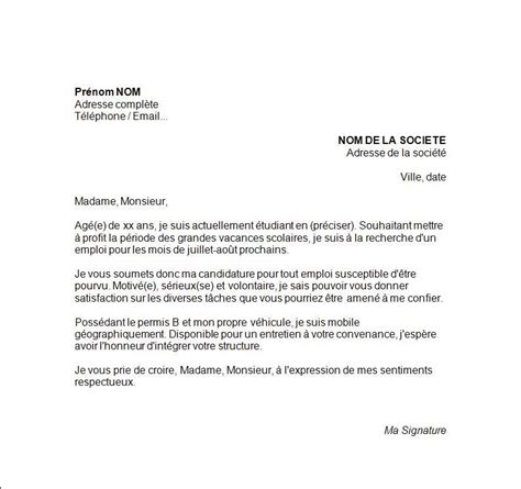 Modã Les Lettre De Motivation D ã Tã Cover Letter Exle Exemple De Lettre De Motivation Travail
