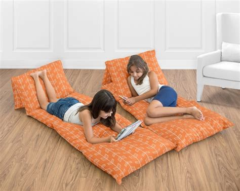 Floor Lounger Pillow by Orange And White Arrow Floor Pillow Lounger