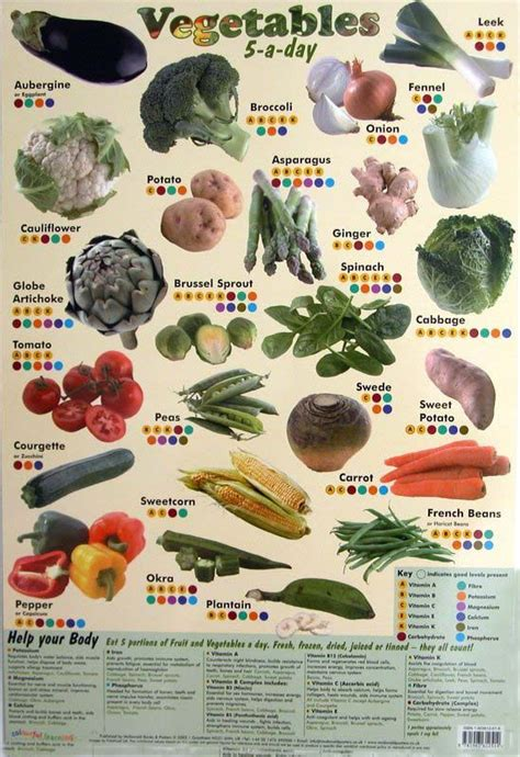 vegetables vitamins 5 vegetables a day poster with nutritional guide poster